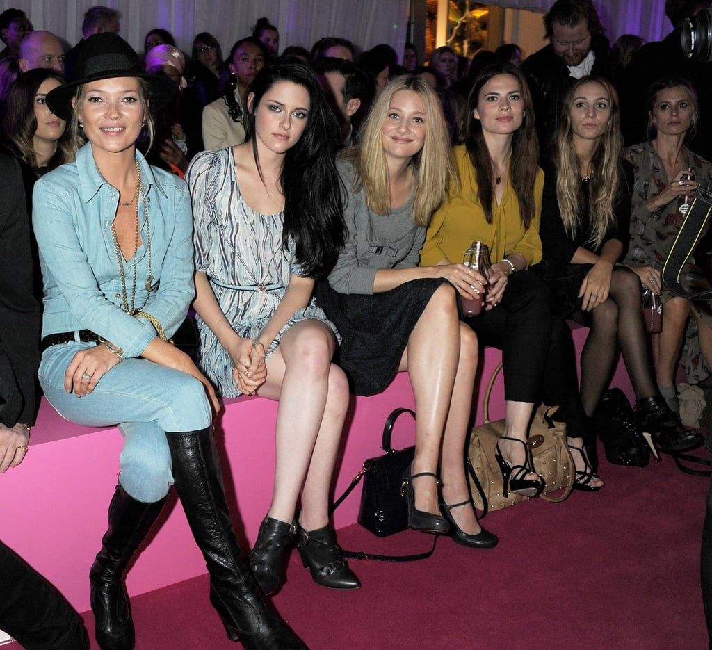 Kate Moss, Kristen Stewart, Romola Garai, Hayley Atwell, Harley Viera-Newton, and Laura Bailey were Mulberry buddies in September 2011 in London.