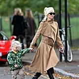 Gwen Stefani bundled up for a day out with Zuma Rossdale.