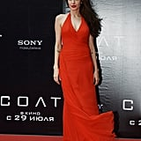 For the Salt premiere in Moscow in 2010, Angelina Jolie wore a red Atelier Versace gown.