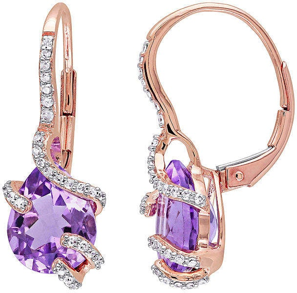 JCPenney Genuine Amethyst And Diamond Earrings