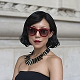 It was all about the statement necklace and the major shades in this look.