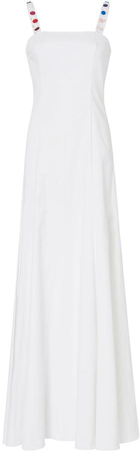 Rosie Assoulin Gazelle White Cotton Gown With Multicolored Button Detail ($2,995)
