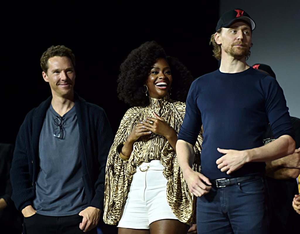 Pictured: Benedict Cumberbatch, Teyonah Parris, and Tom Hiddleston at San Diego Comic-Con.