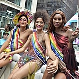 Mj Rodriguez, Indya Moore, and Dominique Jackson at Pride