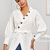 Shein Notched Belted Button Detail Longline Blouse