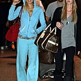 Paris arrived at the Melbourne Airport in Australia with her sister, Nicky Hilton, on Dec. 29, 2008, wearing an aqua tracksuit.