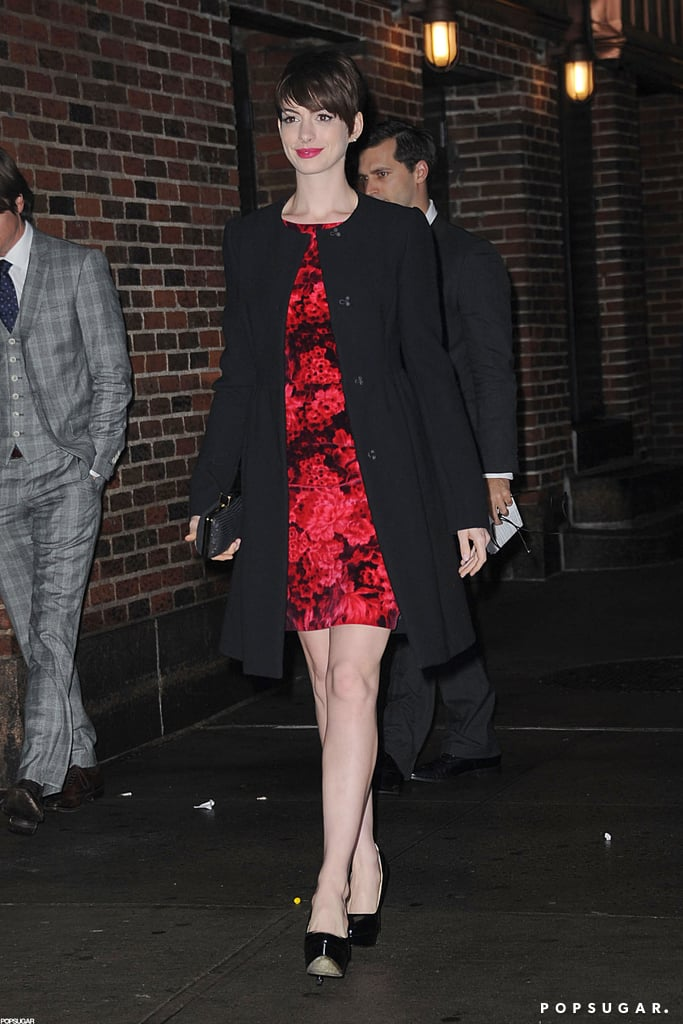ef951746eda Anne Hathaway in a Red Floral Dress at The Late Show