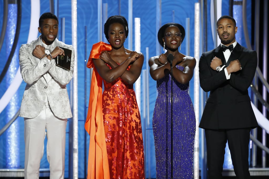 Black Panther dominated 2018, so it only makes sense that the cast would start 2019 off right by hitting the Golden Globes red carpet looking to-die-for.  Stars like Danai Gurira, Lupita Nyong'o, and Michael B. Jordan linked up with the Golden Globe-nominated film's director, Ryan Coogler, for some group photos on the carpet that are so gorgeous, they're honestly hard to directly look at with human eyeballs. Nevertheless, I continued gazing upon the beautiful cast, finding it hard to tear myself away from Gurira's shimmering gown (in a shade of Dora Milaje-approved red, naturally) and Nyong'o's fringed ensemble. (Jordan and Coogler don't look too shabby, either.) Later on the cast joined star Chadwick Boseman on stage to present a few awards, where they were sure to do the Wakandan salute, and they ended the night at the InStyle and Warner Bros. afterparty. Take a deep breath, sit down, and check out the best photos of the Black Panther cast at the 2019 Golden Globes, ahead!      Related:                                                                                                           Here Are All the 2019 Golden Globe Nominees!