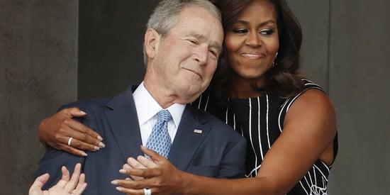 Redditors Hilariously Reimagine Michelle Obama's Hug With George W. Bush