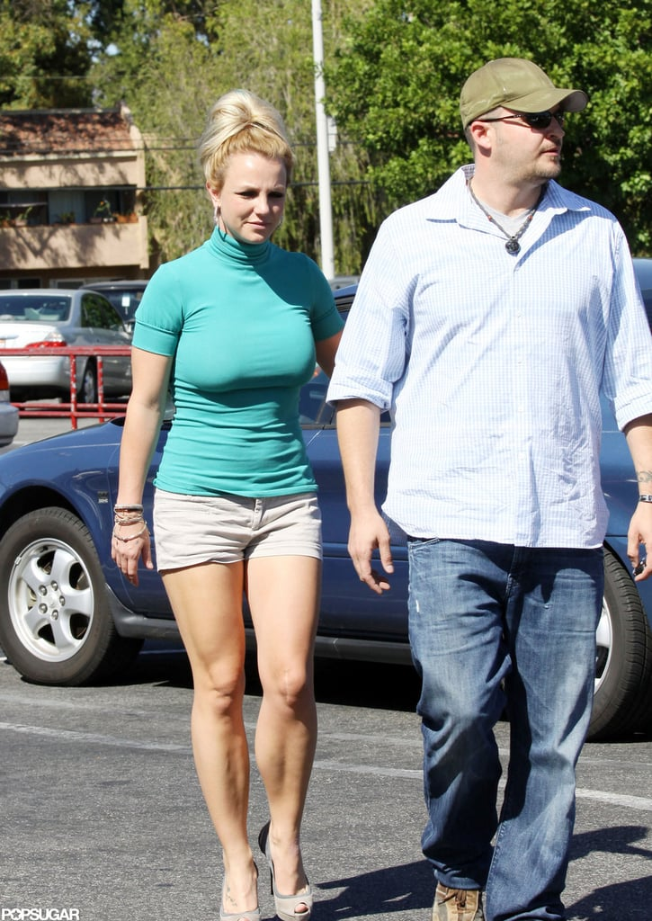Britney Spears pulled her hair up into a high bun.