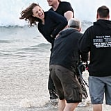 Natalie Portman and Christian Bale filmed on the beach in Malibu.