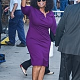 Oprah wore a simple yet elegant purple Escada dress to a Good Morning America interview about The Butler.
