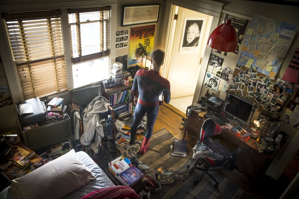 A bird's-eye view of Peter and his room.