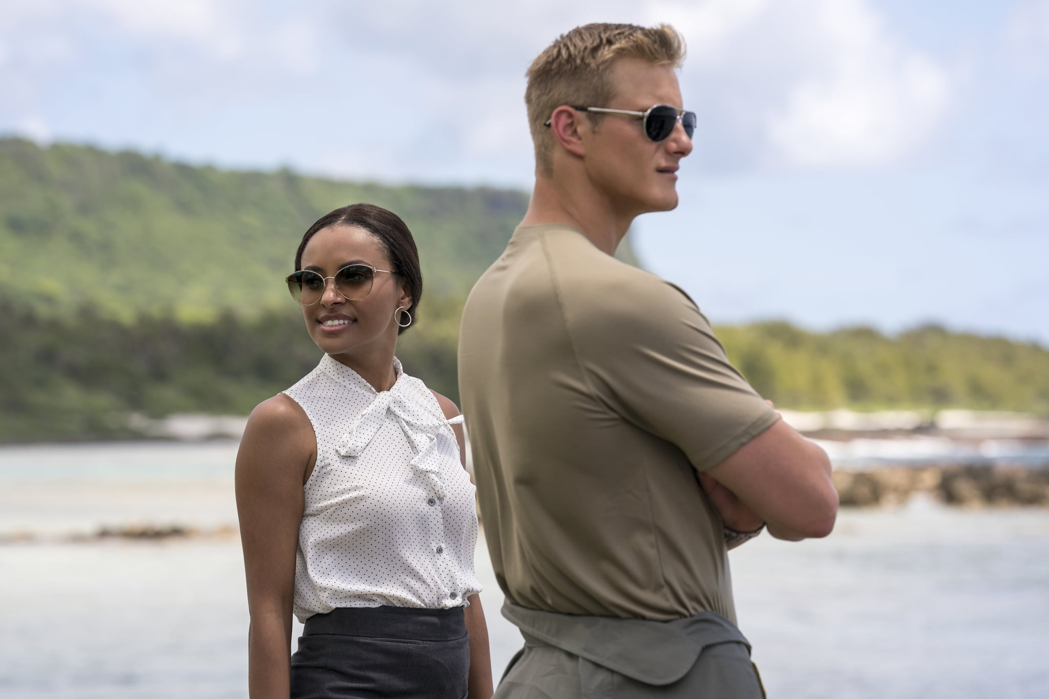 Operation Christmas Drop. Kat Graham as Erica, Alexander Ludwig as Andrew in Operation Christmas Drop. Cr. Ricardo Hubbs//NETFLIX © 2020