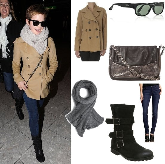 Photos of Emma Watson at Heathrow Airport in Camel Coat and Black Buckle Boots