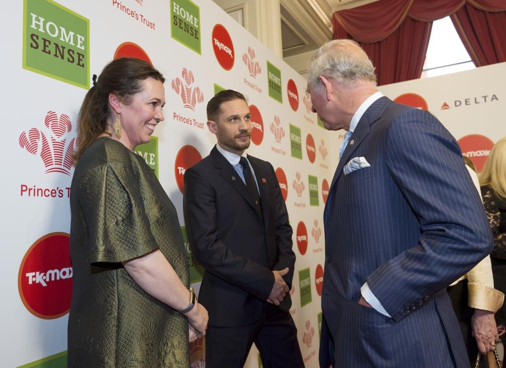Tom with Olivia Colman and Prince Charles.