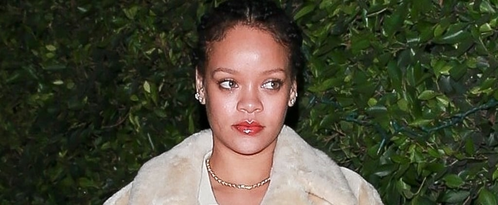Rihanna Wearing a Teddy Coat With an Unbuttoned Cardigan