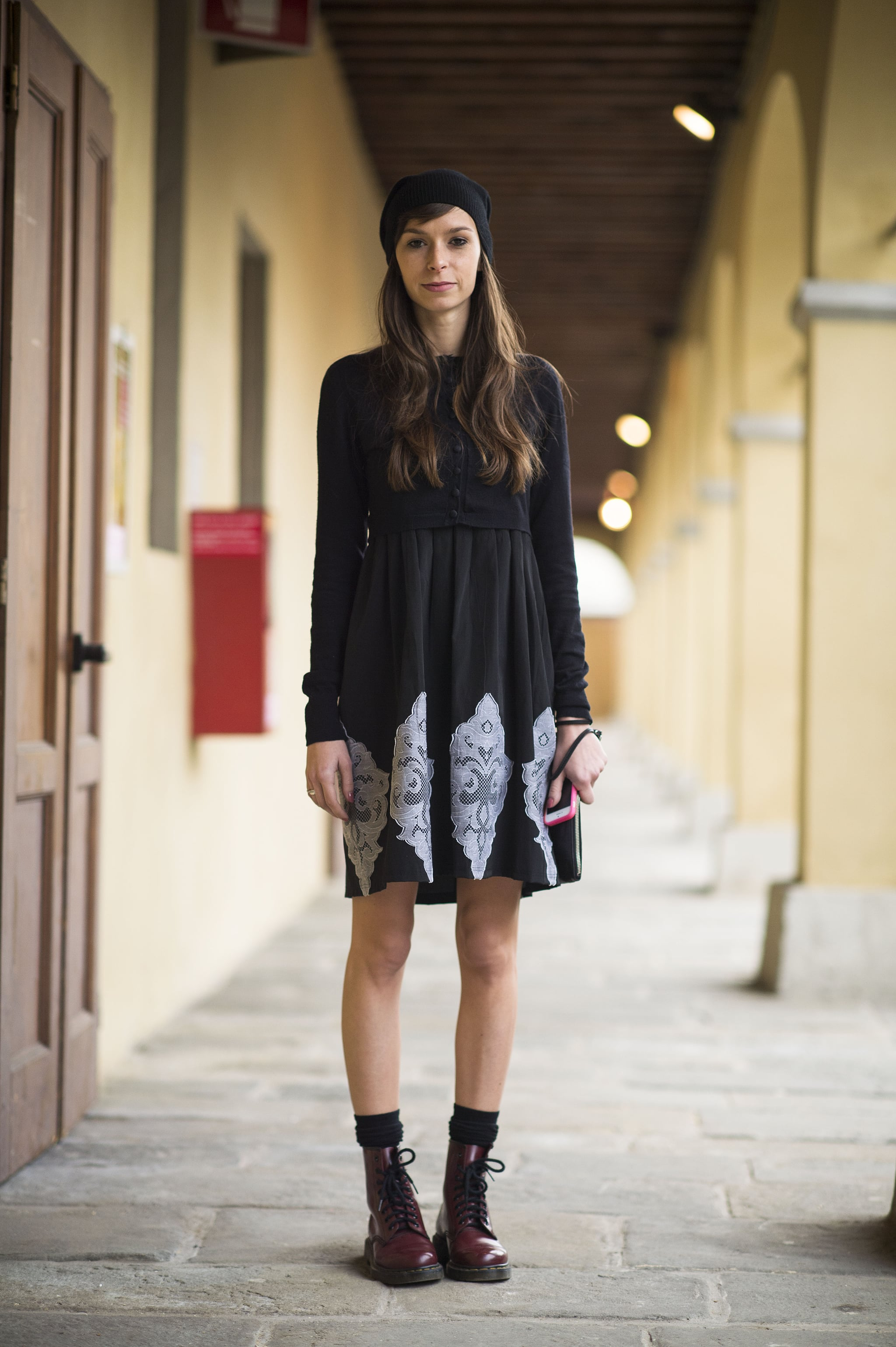 Give your dress the tough-girl effect with a pair of Dr. Martens. Source: Le 21ème | Adam Katz Sinding
