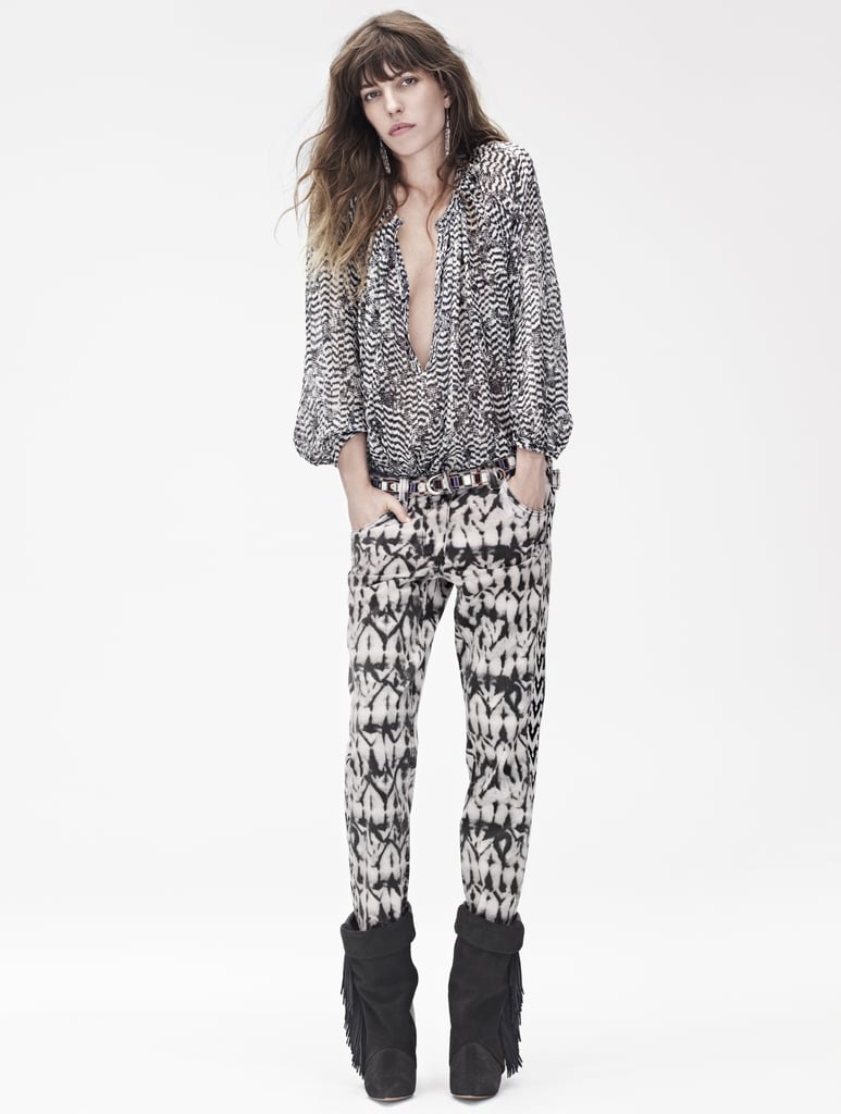 Isabel Marant for H&M Silk blouse ($99), trousers ($99), leather boots ($299) Photo courtesy of H&M
