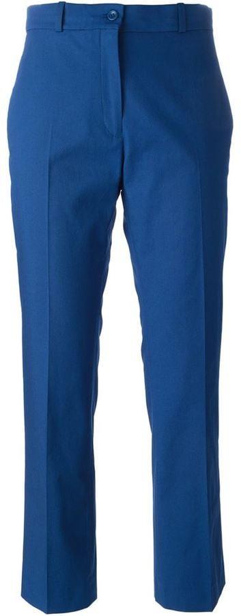 Jil Sander Navy cropped bootcut trousers ($343)