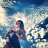 Leven Rambin looked to the skies for her inspirational bikini shot.  Source: Instagram user levenrambin