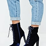 Missguided Navy Velvet Lace Up Heel Boots