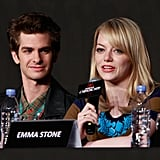 Emma Stone spoke at a press conference for The Amazing Spider-Man while Andrew Garfield sat beside her in Seoul.