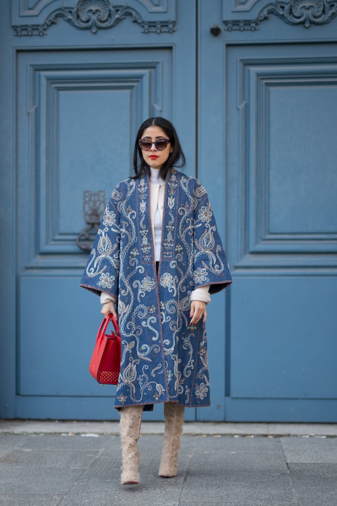 An Embroidered Coat and Suede Boots