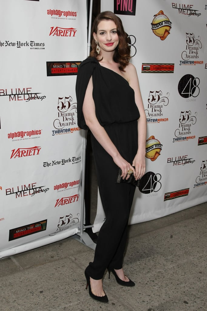 Jumpsuits are nothing new, but Anne Hathaway's one-shouldered version manages to be incredibly fresh. Love her hair, too.