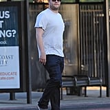 Producer Seth Rogen kept it casual on the set of Townies in LA on Friday.