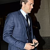 Ryan Reynolds wore a navy blue suit in NYC.
