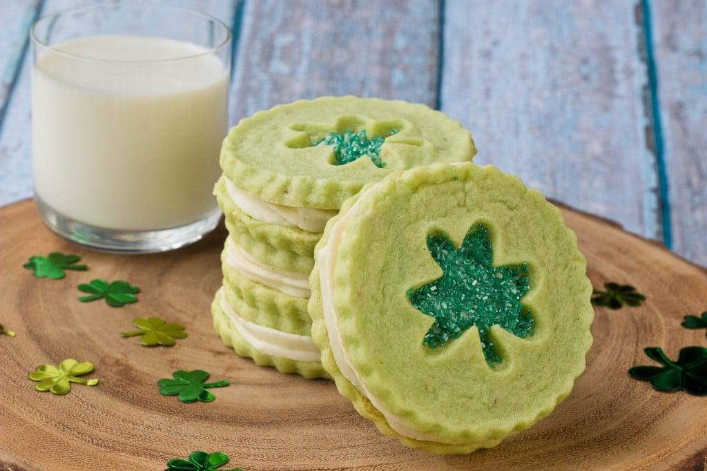Pistachio Pudding Linzer Cookies