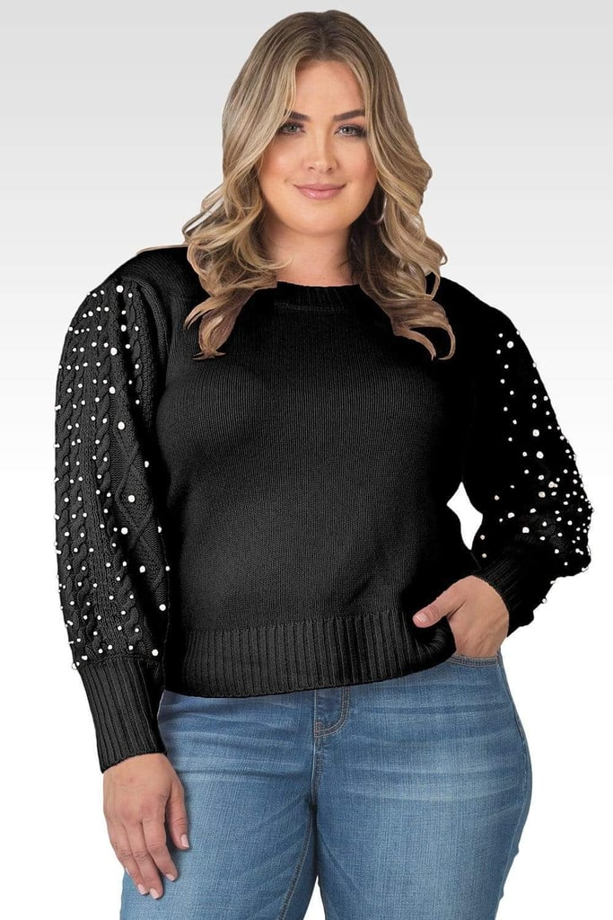 Standards & Practices Dolly Pearl Sleeve Cable Knit Sweater