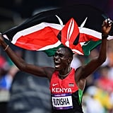 Kenya's runner David Lekuta Rudisha grinned from ear to ear after winning gold and setting a new world record.