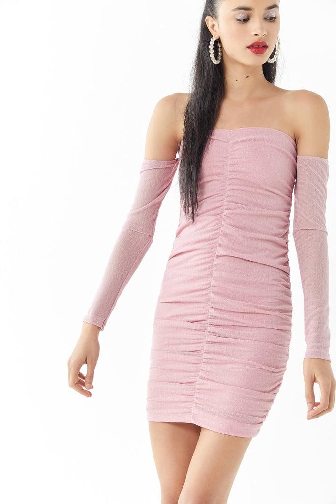 Motel Azalea Mesh Ruched Off-the-Shoulder Minidress