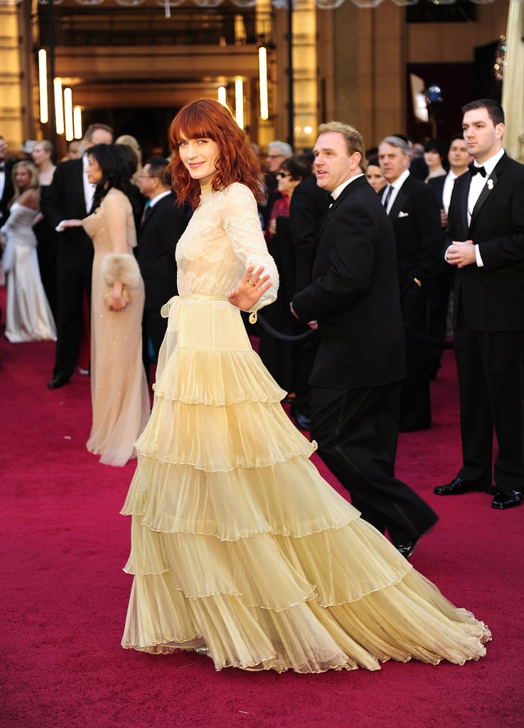 Florence Welch: Because we like the long sleeveson this Valentino couture frock — demure but not dated.
