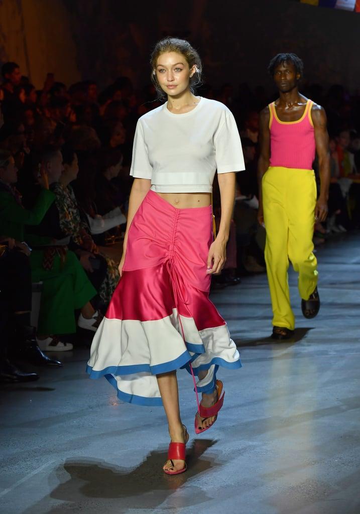 Gigi Strutting Her Stuff in a Flirty Prabal Gurung Skirt