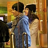 Justin Bieber with Selena Gomez in a Jamba Juice.