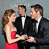 Anna Kendrick and James Marsden chatted on the red carpet.