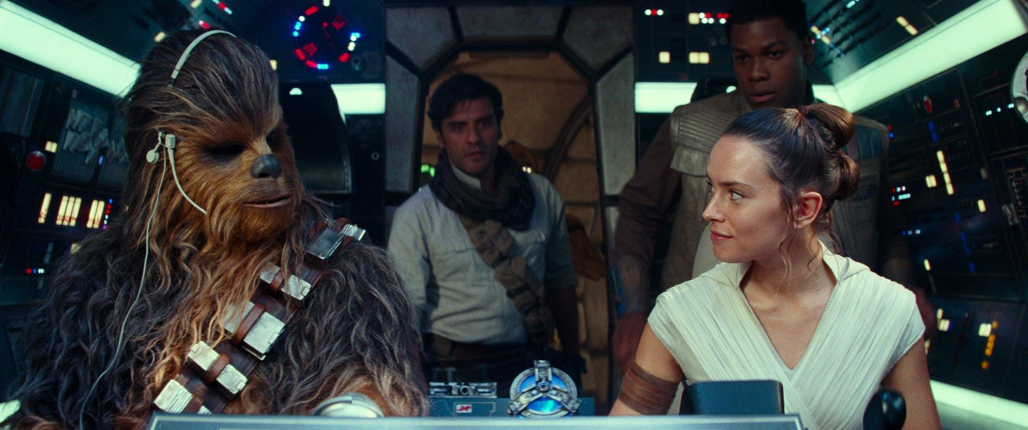 Joonas Suotamo is Chewbacca, Oscar Isaac is Poe Dameron, Daisy Ridley is Rey and John Boyega is Finn in STAR WARS:  THE RISE OF SKYWALKER