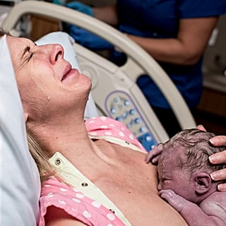 Tearful Rainbow Baby Birth Photo