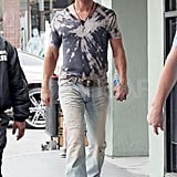 Matthew McConaughey on the Magic Mike set in LA.