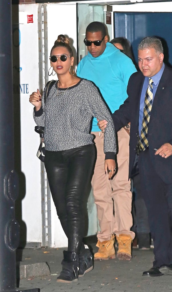 In October 2012, Beyoncé and Jay Z kept it casual and cool for dinner in NYC.