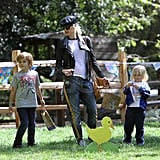 Gwen Stefani hunted for Easter eggs with Kingston and Zuma.