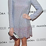 Fearne Cotton matched her Theyskens Theory lace dress to her lilac heels.