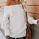 Zkess Off-the-Shoulder Loose Knit Pullover Sweater