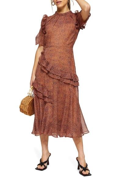 Topshop Animal Print Ruffle A-Line Dress