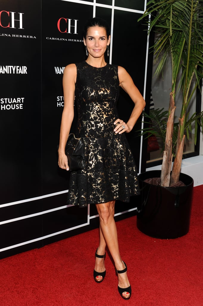 Angie Harmon wore a black lace dress in LA.