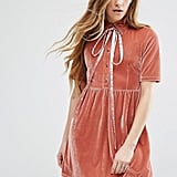 Motel Velvet Dress With Tie Up Bow Neck