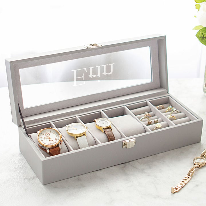 CathPersonalized Leatherette Watch & Jewelry Case